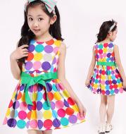 Children's Wear 2020 Cotton Polka Dot Vest Dress