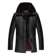 Middle-Aged And Elderly Men's PU Leather Buttoned Large Fur Colla