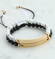Personalized Beaded Adjustable Engraved Bar Bracelets