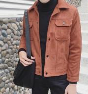 Multi-pocket short lapel woolen coat