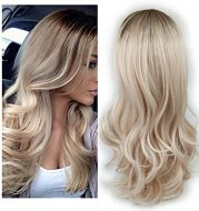 uropean and American fashion white female partial points in the wig bangs dyed long curly hair