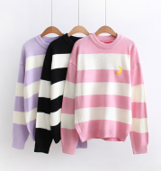 Autumn-winter Korean version of 100 sets of wide moon embroidery girl student knitted sweater Pullover
