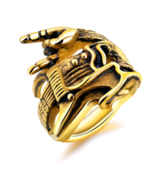 Titanium steel men's ring fashion rock hip hop skull guitar victory gesture instrument single ring