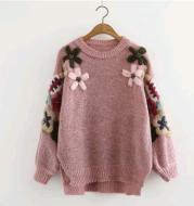 2021 autumn new versatile knit round neck flower embroidery long-sleeved round neck pullover sweater women