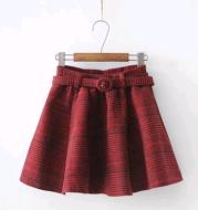 2021 autumn women's new college wind belt plaid woolen skirt
