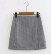 Vintage houndstooth hem double slit high waist sexy bag hip skirt