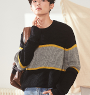 Men's 2021 autumn and winter new round neck line net red sweater Korean version of the loose sweater men's tide