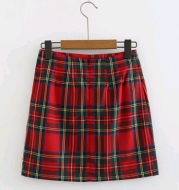 Retro color matching red plaid double slit high waist bag hip skirt female