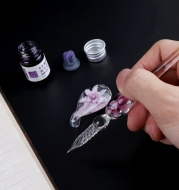 Elegant Crystal Flower Glass Dip Pen Set