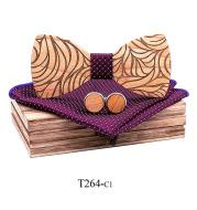 Solid Wood Wooden Suit Broken Flower Pattern Bow Tie