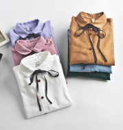 New All-Match Long-Sleeved Small Bow Shirt