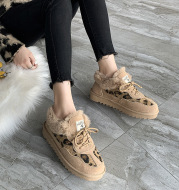 Leopard print platform boots