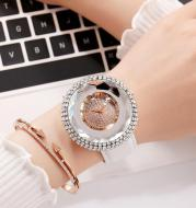 Silicone Women's Watch With White Crystal Glass Quartz