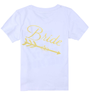 Women's Short Sleeve Pure Color Cotton Shirt Printed with Golden Glitter Powder