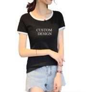 Custom Ladies' Round Collar T-shirt Cotton T-shirt