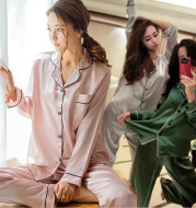 Long sleeve trousers women's pajamas two piece suit