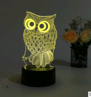 Led night light owl 3D table lamp can touch colorful