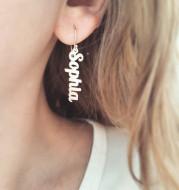 Custom Vertical Name Earrings Dangle Jewelry for Women Stainless Steel