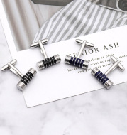 Black And Blue Stripes Cylindrical High-End Cufflinks Accessories