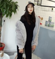 Faux fur mink coat women