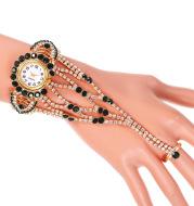 Ladies Full Diamond Claw Chain Ring Set Watch