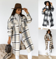Button lapel casual warm plaid long woolen coat