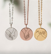 Stainless steel round sign language necklace