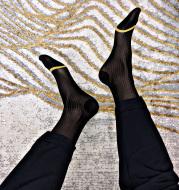 Men's dark line socks with golden toes