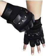 Men's leather warm half finger gloves