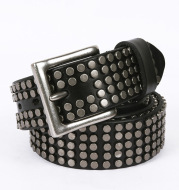 New Five-row Small Rivet White Pin Buckle Leather Belt