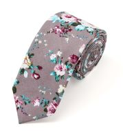 Floral Ties for Men Flower Print Slim Cotton Tie Skinny Necktie Pocket Square Set for Parties
