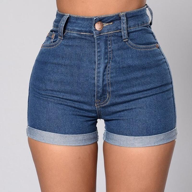 Solid Color Denim Jeans Shorts