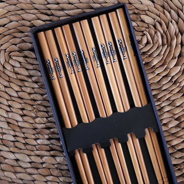 Palillos de bambú diseño Lean fish