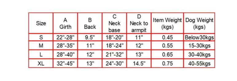 Size chart for The Belgian Malinois Tactical Military Dog Harness