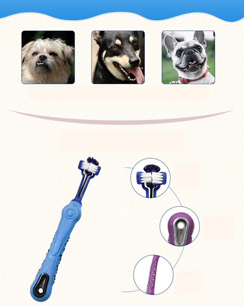 Three Sided Pet Toothbrush Dog Brush Bad Breath Tartar Teeth Care