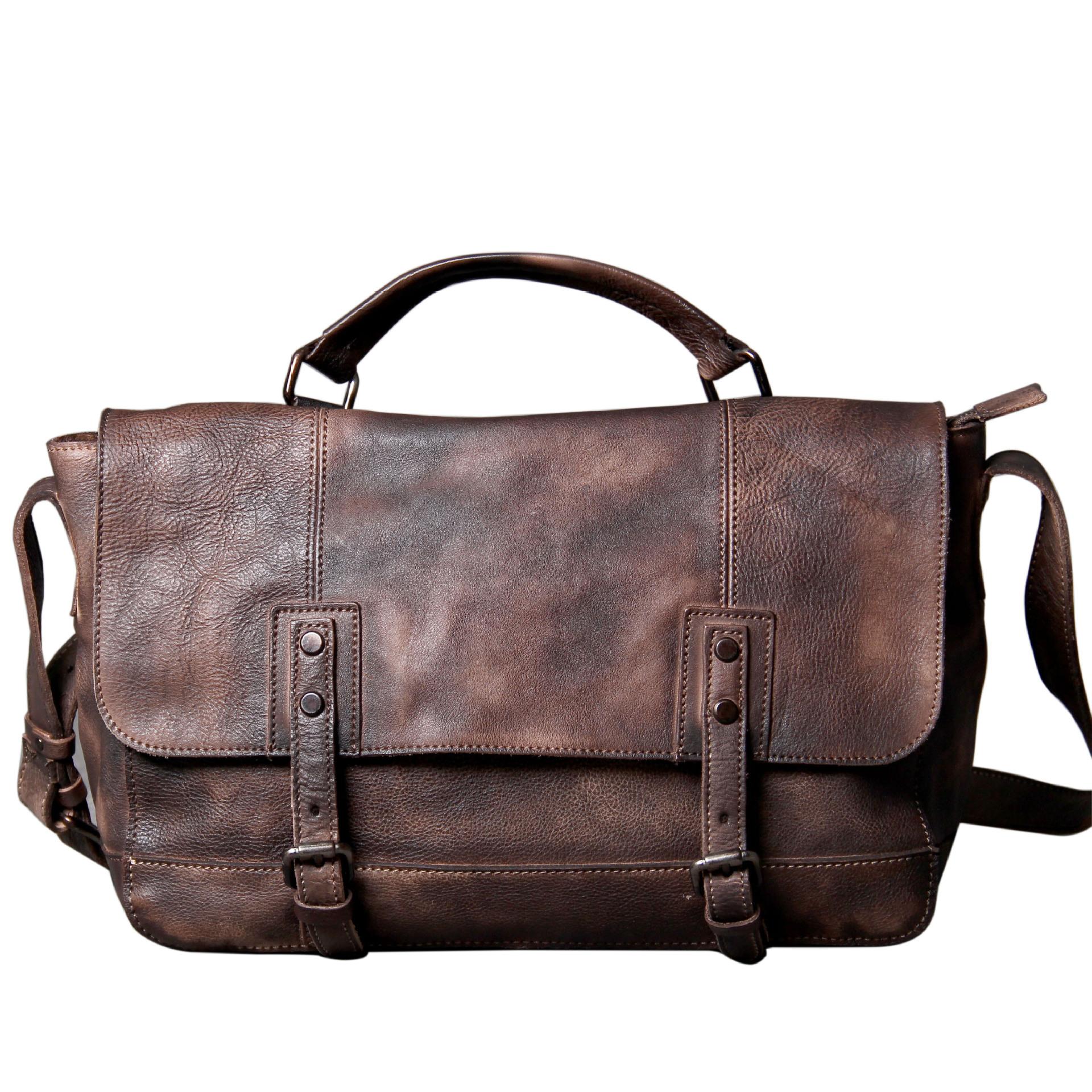 "Patina Brown Leather Messenger Bag ""Dux"" Men's Vintage Briefcase"