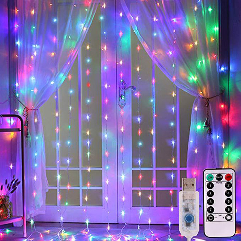 LED Curtain Garland on the Window USB String Lights Remote Control  Christmas Decorations for Home Room