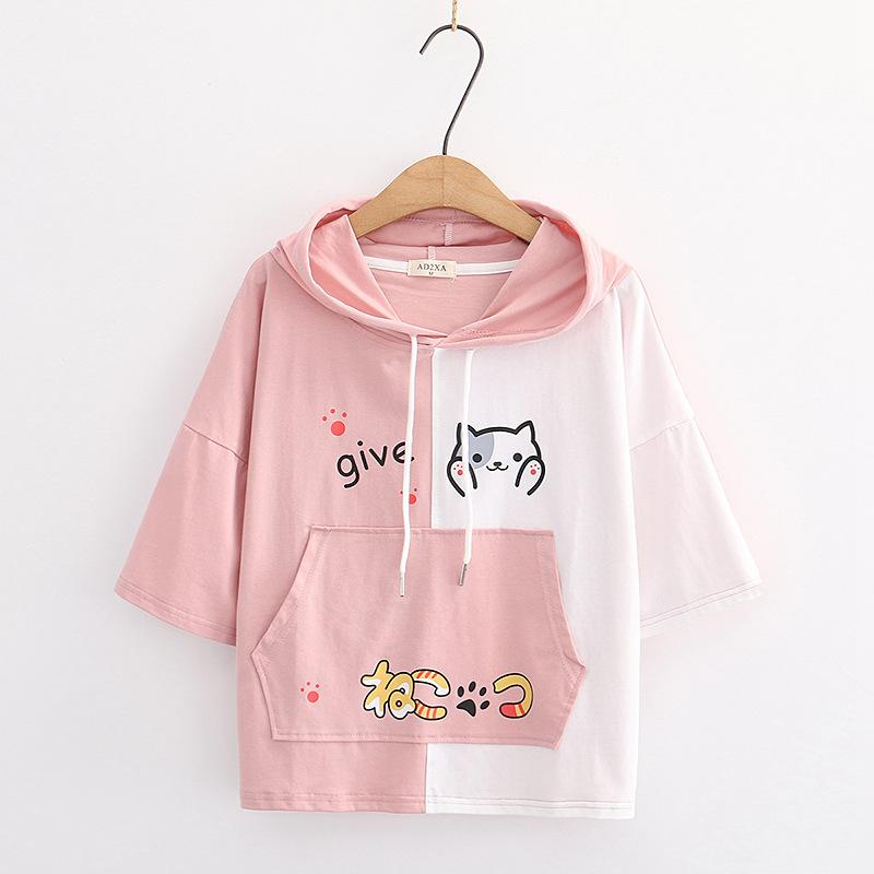 Camiseta manga corta mujer con capucha diseño gato rosa