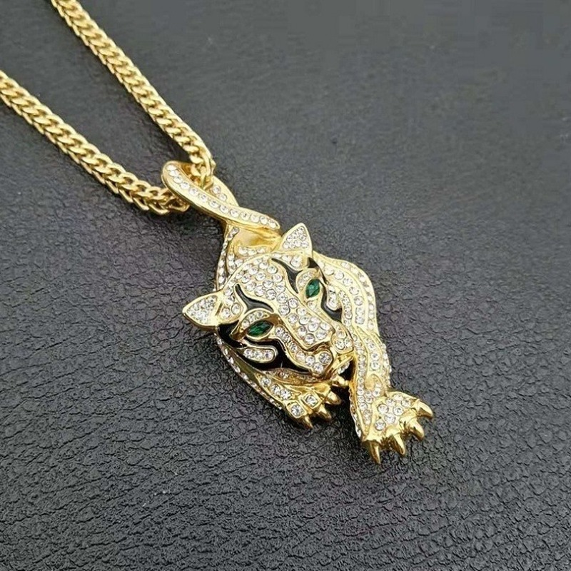 Diamante Prowling Tiger Necklace Pendant With Emerald Eyes - Hip-Hatter
