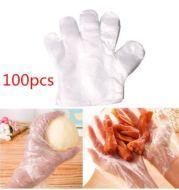 100 Pcs Sarung Tangan Plastik Transparan Sekali Pakai  Disposable Plastic Gloves