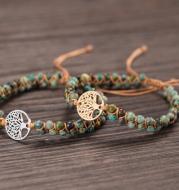 Tree Charm Bracelets African Japser String Braided Bracelets Yoga Friendship Lover Bracelet