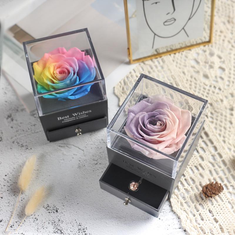 Eternal Flower Rose Jewelry Box for Birthday Presents Valentines Day Wedding Gift