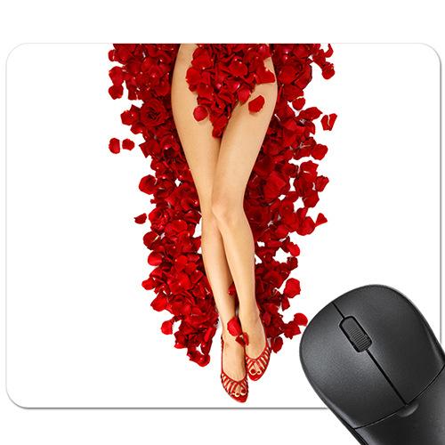 Tapis de souris sexy roses rouges et jambes satinées