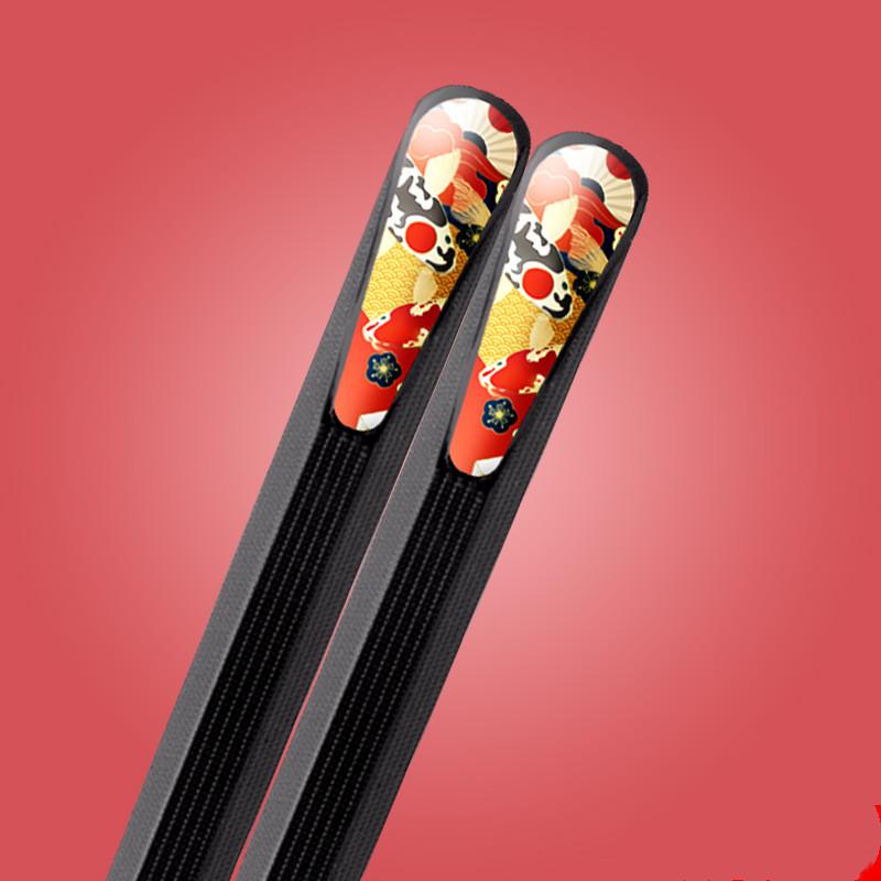 Foto palillos Japoneses metálicos, pack 5 pares, diseño pez Koi