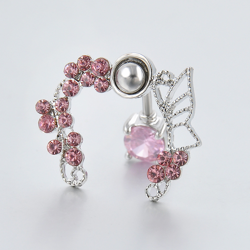 44f80368-03be-4432-a315-ae61bf4ae7ee Exchuite Pink Butterfly Zircon Belly Button Ring