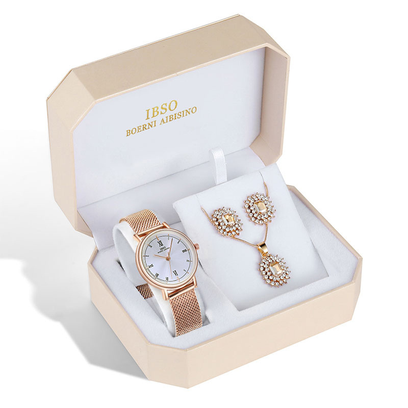 Watch Jewelry Set - Watch, Earrings, And Necklace