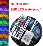 5M 5050 RGB SMD LED Waterproof Flexible Strip 300 LEDs and 44 Key IR Remote