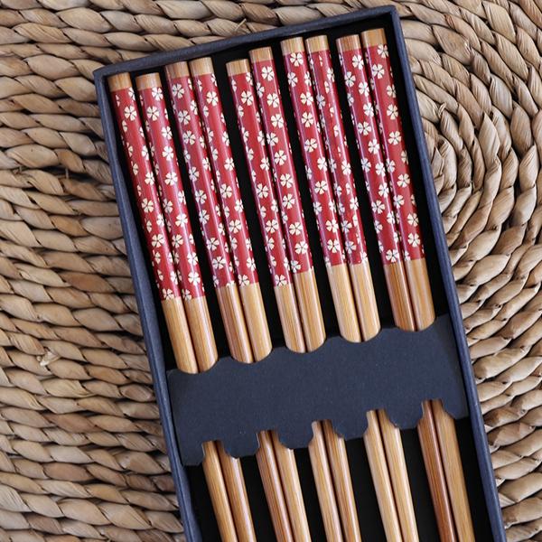 Palillos de bambú diseño Red cherry