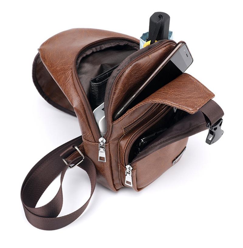 USB Portable Charging Chest Bag Messenger Bag allinonehere.com