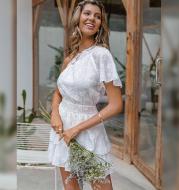 Solid Color Hedging Waist One-Shoulder Dress